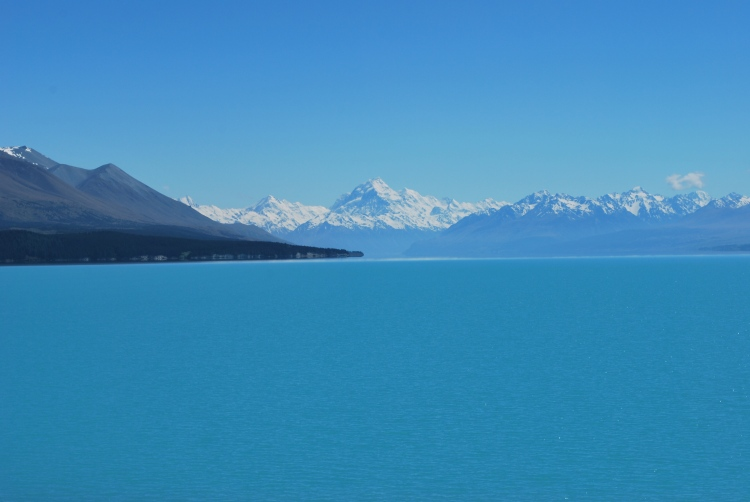 The brilliant blue of Lake Pukaki, with Mt. Cook towering in the distance.