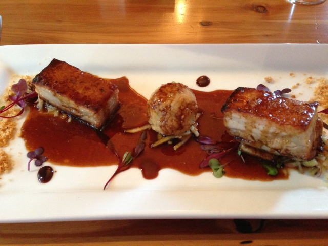 We stopped for the night in the small town of Hanmer Springs, and enjoyed a beautiful meal at a restaurant called No. 31. This is a starter of pork belly with coconut rice cake.