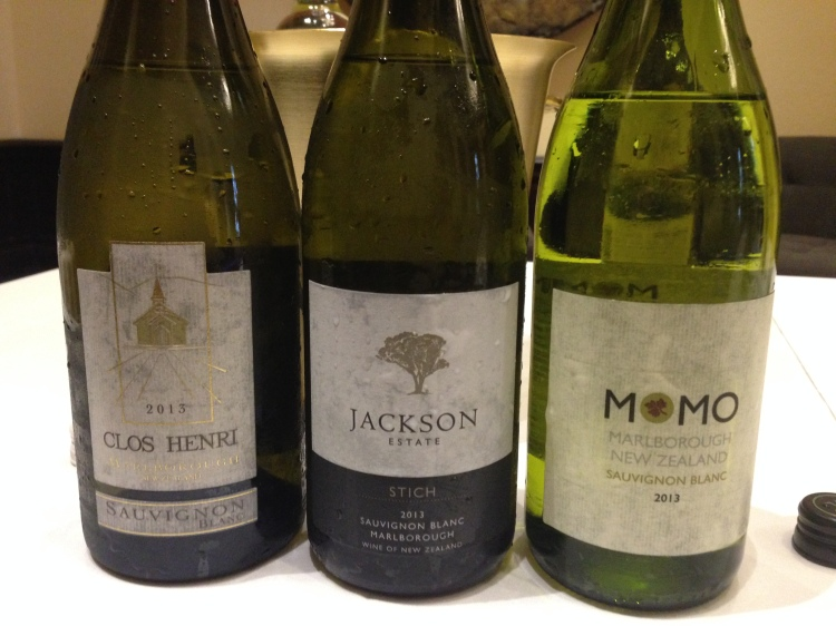 Clos Henri: medium-plus body, earth on finish, good complexity. $24 Jackson Estate: Complex nose, bright fruit, with lemon/lime on palate. Medium acid. $17 Momo: Earthy nose, hints of musk, but with a perfumed finish. $12